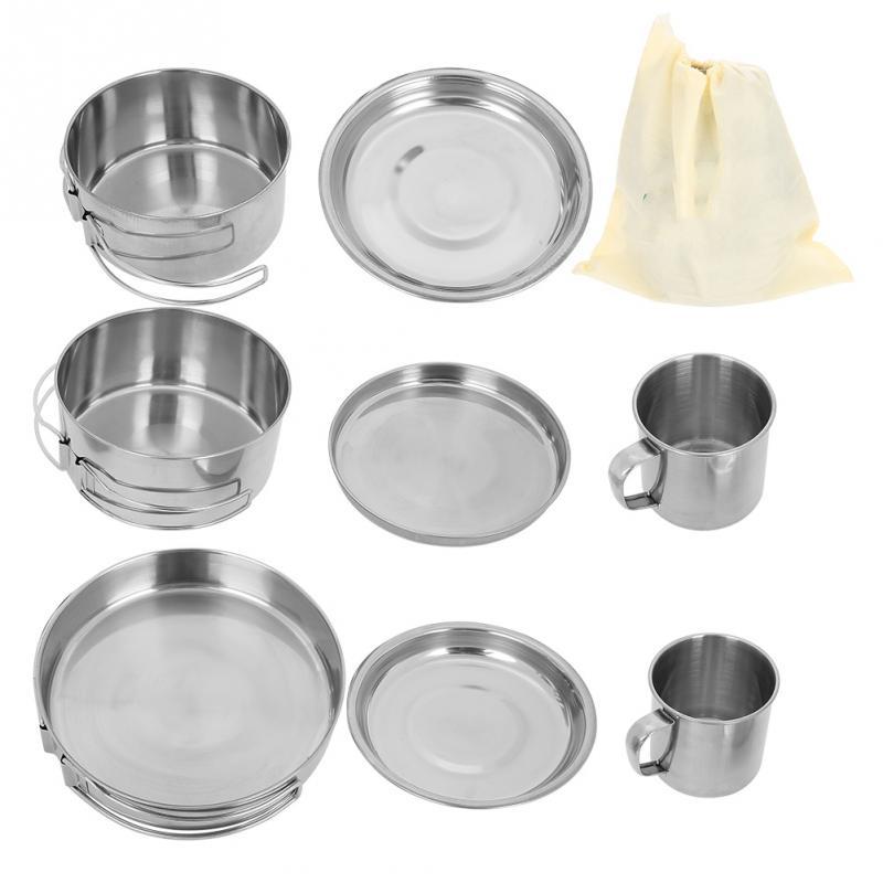 Stainless Pan Outdoor Picnic Bowl Camping Cooking Cookware Hanging Pot Set