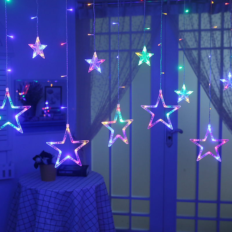 YIYANG 2.5M Christmas Lights AC220V EU Romantic Fairy Star LED Curtain String Lighting Holiday Wedding Garland Party Decoration ...