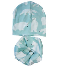 autumn cartoon print baby beanie scarf hat sets cotton fox fawn heart star bunny bear cap collar suits kids wear accesories(China)