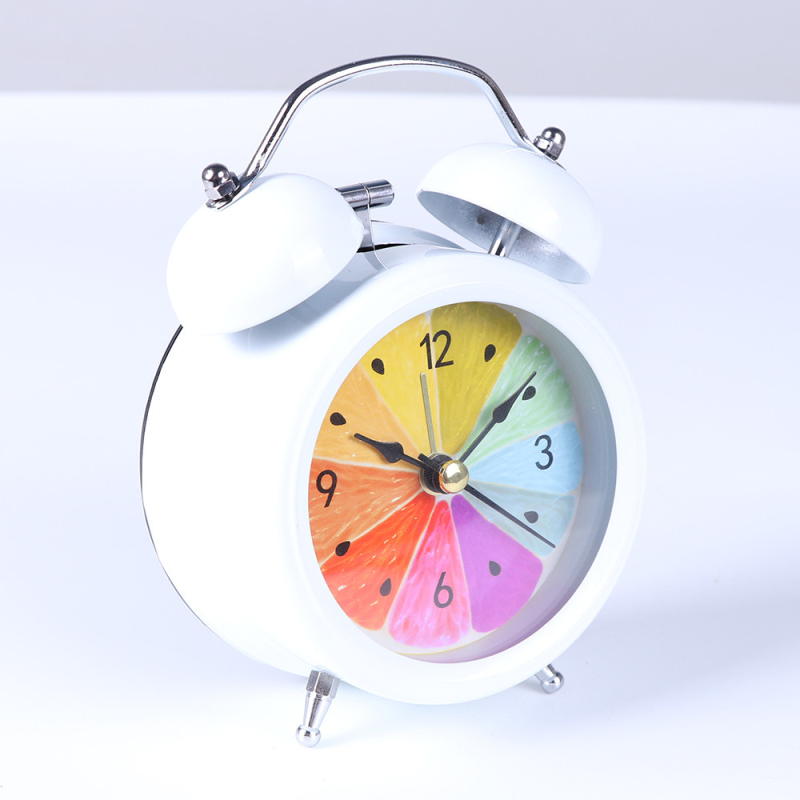 Aimecor Orange Alarm Clock Loud Hammer Two Bells Alarm Batteries Powered Silent No Ticking Desk Table Alarm Clock Bedroom Office