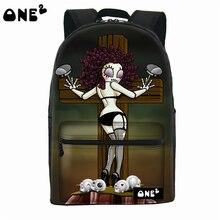 2016 ONE2 Дизайн sexy girl скелеты parttern оптовая печать холст сумка милый рюкзак школы для подростков девочек