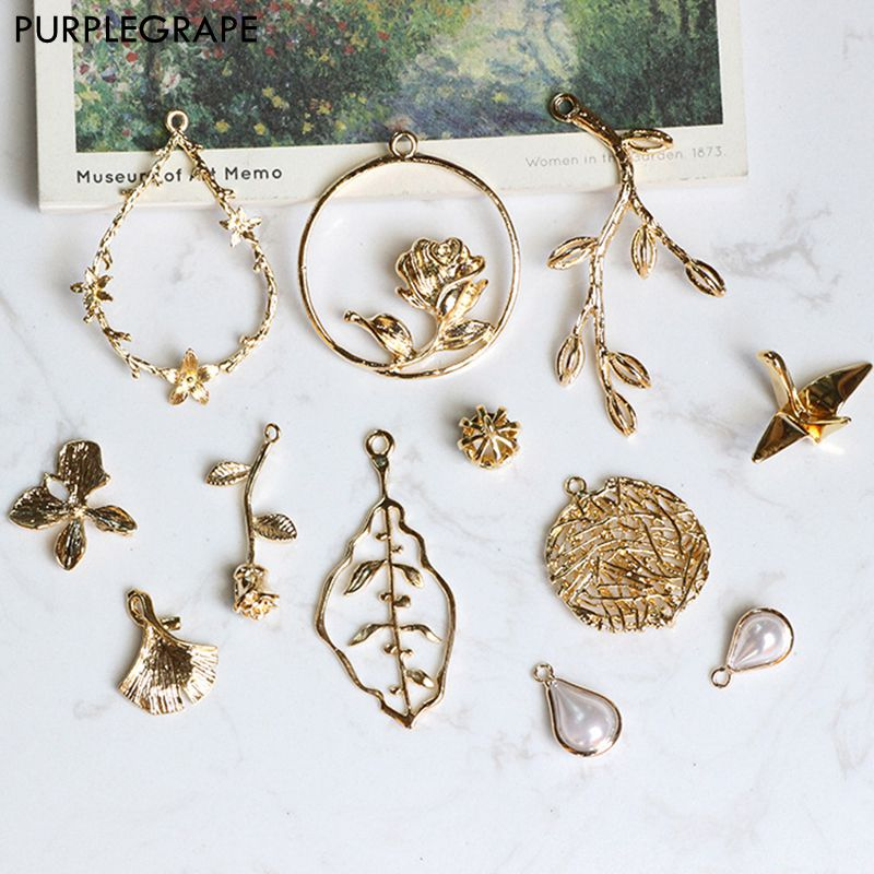PURPLEGRAPE Pure Copper Plated 18K Real Gold Jewelry Material DIY Earrings Accessories Bracelet Necklace Sen Jewelry Pendant