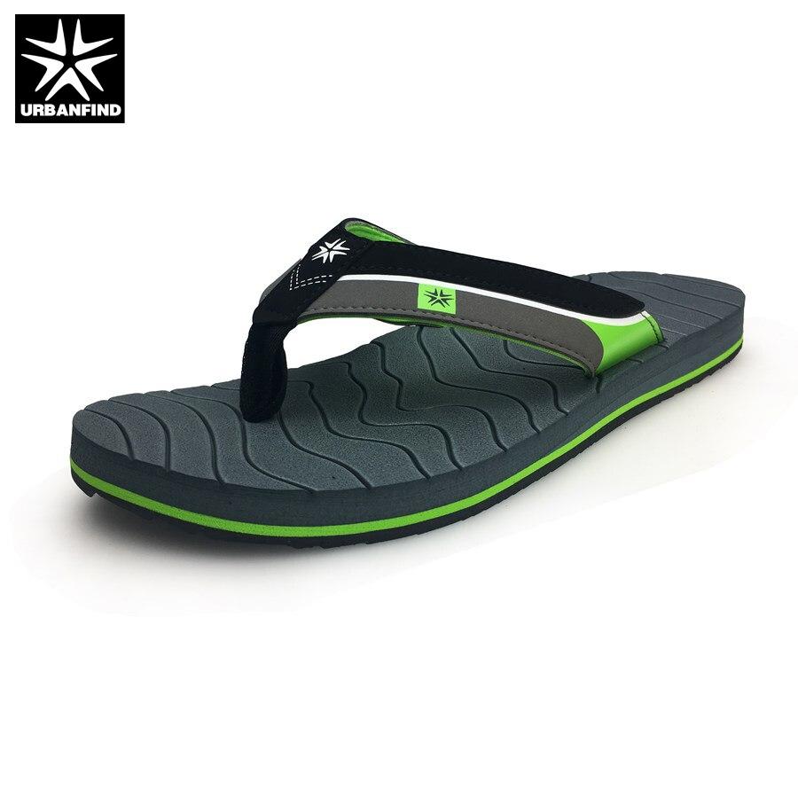 URBANFIND Indoor / Outside Slippers Men Casual Flip Flops Big Size 41-46 Breathable Light Man Summer Shoes Brown Grey