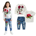 Spring/Autumn Girl Rose Outfits Flower Jacket+T shirt+Jeans Denim Pants 3pcs Kids Clothing Sets 2-8Y Girls Clothes Long Sleeves
