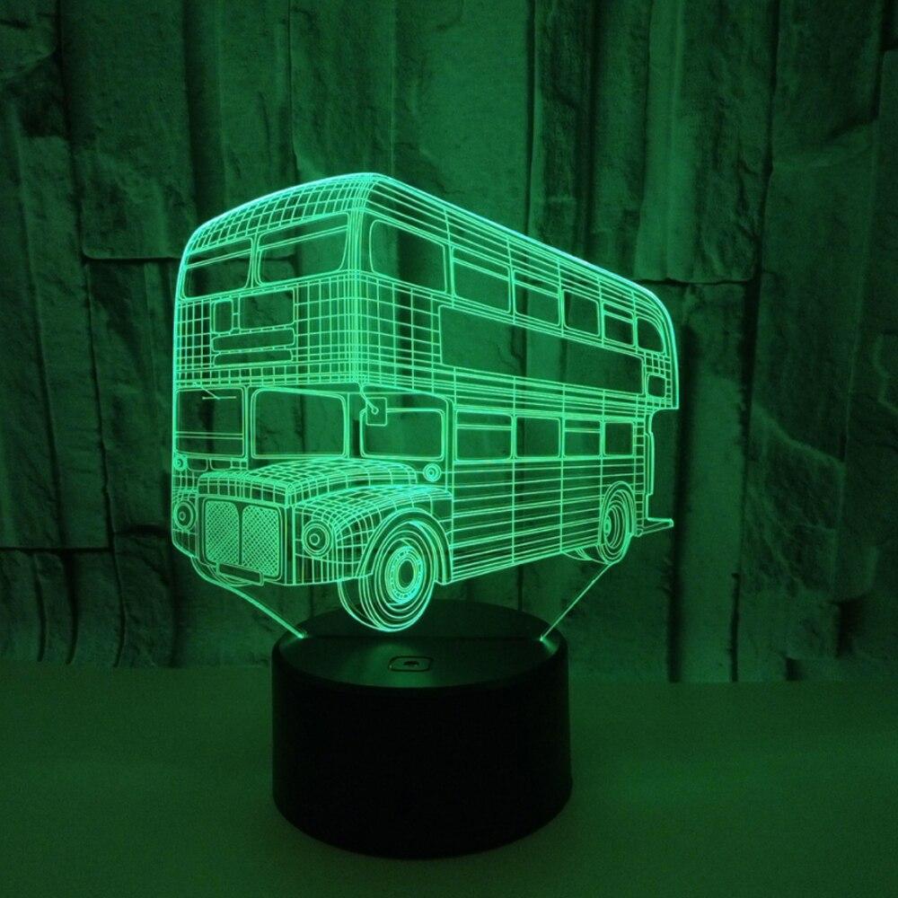7 kolory 3d Wizualne Illusion Lampy Camping Autobus DOPROWADZIŁY 3D Noc Światło Przezroczyste Akrylowe Led Lampa Lampa Stołowa Dziecko Śpiące oświetlenie