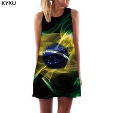 KYKU Brazilian Flag Dress Women Brazil 3d Print Black Beach Smoke Ladies Dresses Space Sexy Womens Clothing Summer New Cool