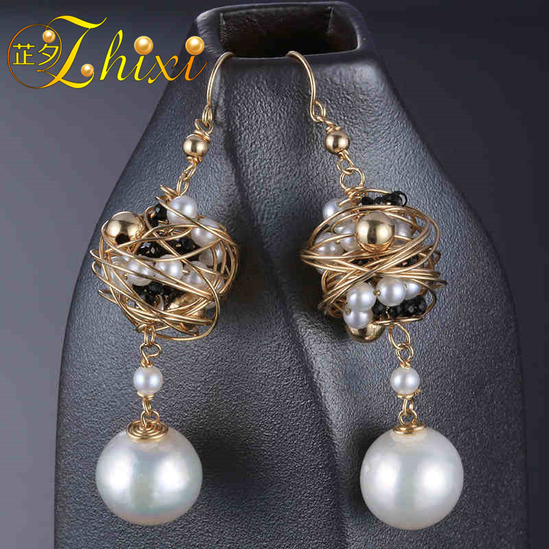 [ZHIXI Pearl Earrings For Women Fine Jewelry 9K Yellow Gold Natural Pearl Drop Earrings Near round Trendy Gift For Party EB31 lohaspie ocean party natural sapphire pendant solid 9k yellow gold mother of pearl starfish fine fashion stone pearl jewelry new