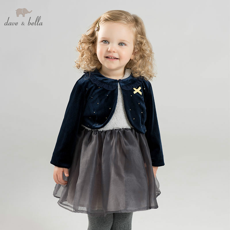 DB8896 dave bella autumn infant baby girl's clothing sets dress kids birthday party dress toddler children navy/gray dress