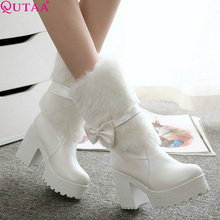 QUTAA 2017 White Ladies Shoes High Heel Women Mid Calf Boots Sweet Bow Tie Winter Woman Snow Boots Fur Casual Shoes Size 34-42