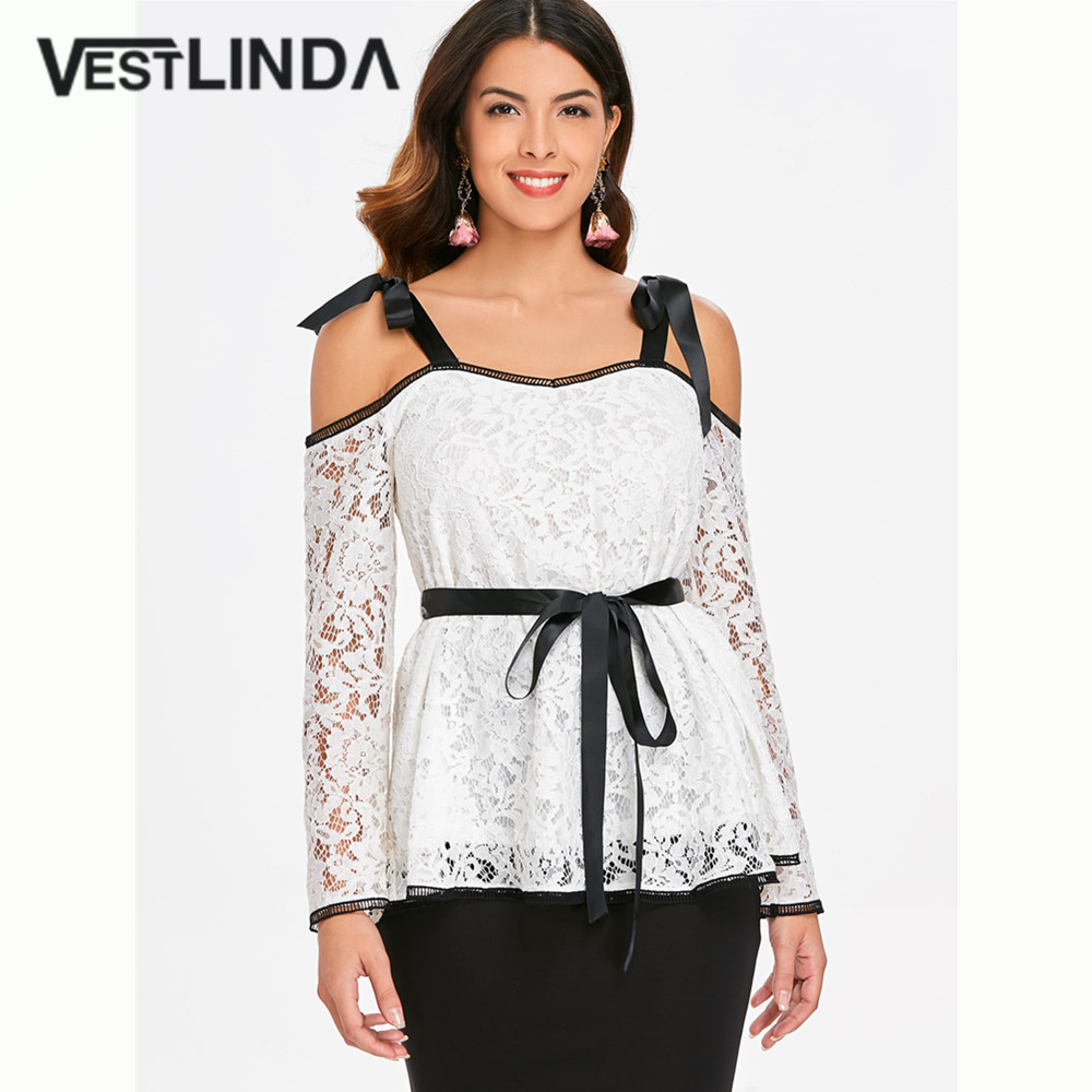 VESTLINDA Self Tie Cold Shoulder Lace Blouse Fashion