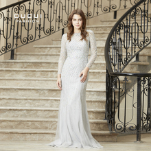 Real Photos Crystal Mermaid Long Sleeve Hand Made Illusion Full  Beading Long Evening Dress Close Back Luxury  OL103064B
