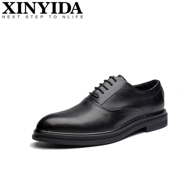 Hot Fashion Pointed Toe Men Dress Shoes Men's Lace-up Breathable Hard-wearing Business Casual Shoes Men Leather Shoes Size 38-44 new arrival pointed toe men wedding shoes men s lace up breathable business casual shoes fashion man hairstylist shoes size38 44