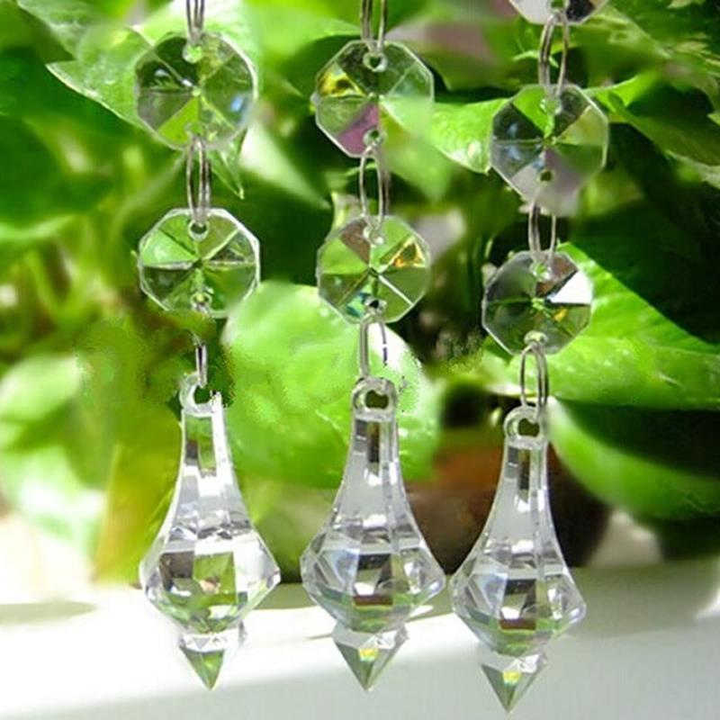 100 vertentes/lote 50cm acrílico cristal guirlanda 14mm octógono contas cadeias peça central pingente pendurado strand festa de casamento wa151