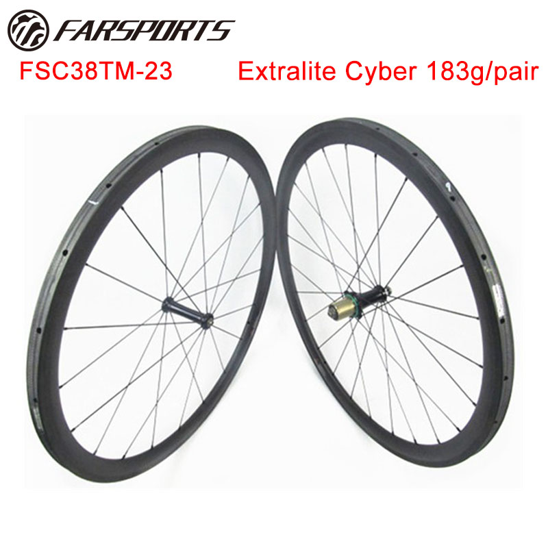 1053g/set !! Lightweight road bicycle wheelsets 38mm 23mm tubular rims with Extralite Cyber hub, 18 months warranty