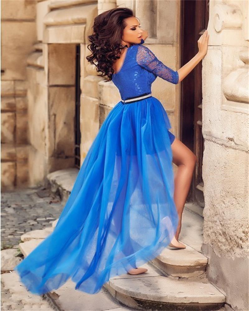 Short Evening dress O Neck Short Sleeve Lace Turkish High Low Prom ...