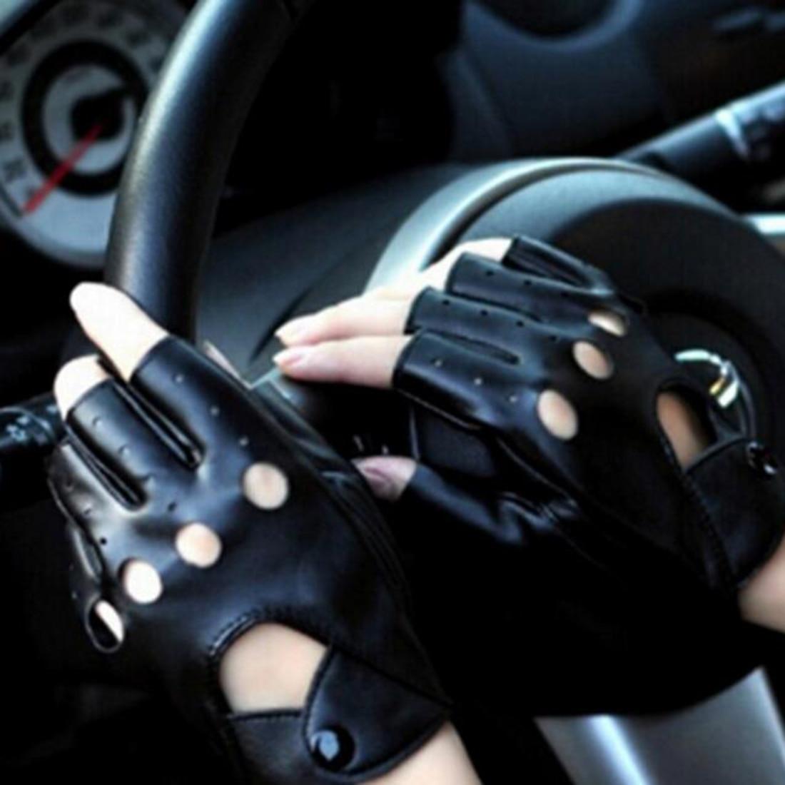 New 1Pair Fashion Half Finger Driving Women Gloves PU Leather Fingerless Gloves For Women Black