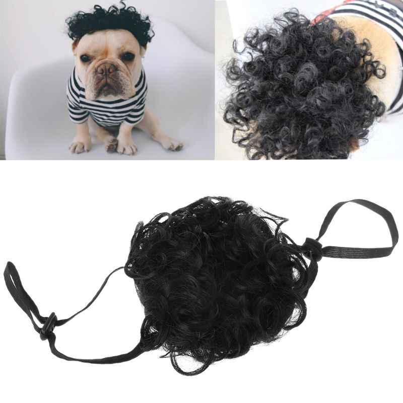 Костюм для домашних животных Регулируемый черный парик Кепка для маленьких средних больших собак товары для маскарадной вечеринки