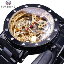 Forsining Black Luxury Nail Bezel Antique Steampunk Men Skeleton Mechanical Watch Steel Top Brand Automatic Royal Flower Engrave forsining brown leather belt golden bezel transparent case steampunk double sided hollow men automatic watches top brand luxury