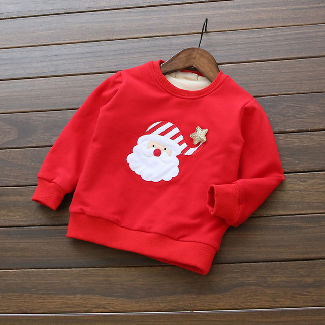 New 2016 Christmas Children Hoodies Cotton Padded Thicken Boys Girls Cartoon Casual Velvet Clothes Kids Costume Tops