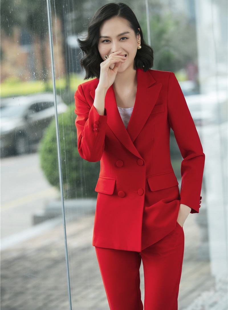 2018 Fashion Red Uniform Designs Pantsuits With Jackets And Pants For Office Ladies Blazers Pants Suits Women Trousers Sets