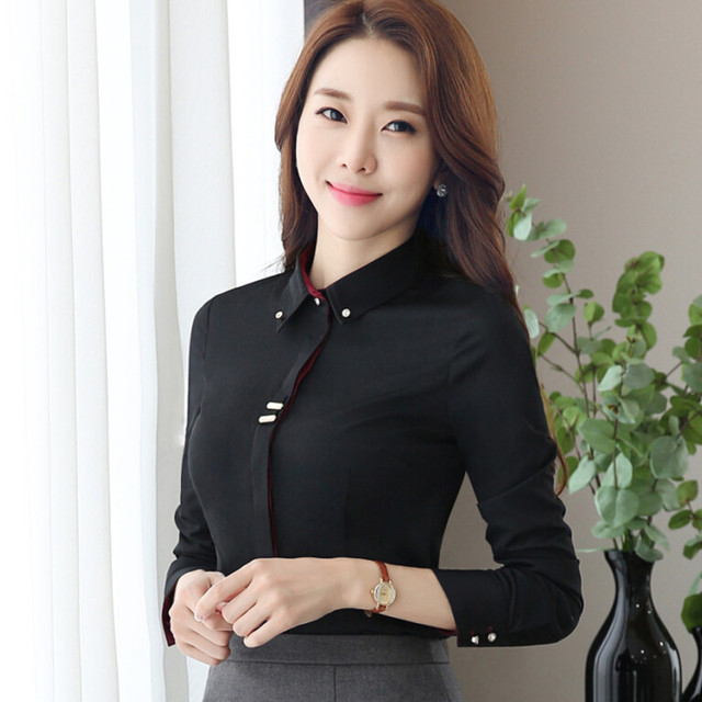 Fashion Clothes OL Women Long Sleeve Shirt Black White Slim Patchwork Sequined Cotton Blouse Office Ladies Plus Size Formal Tops 2