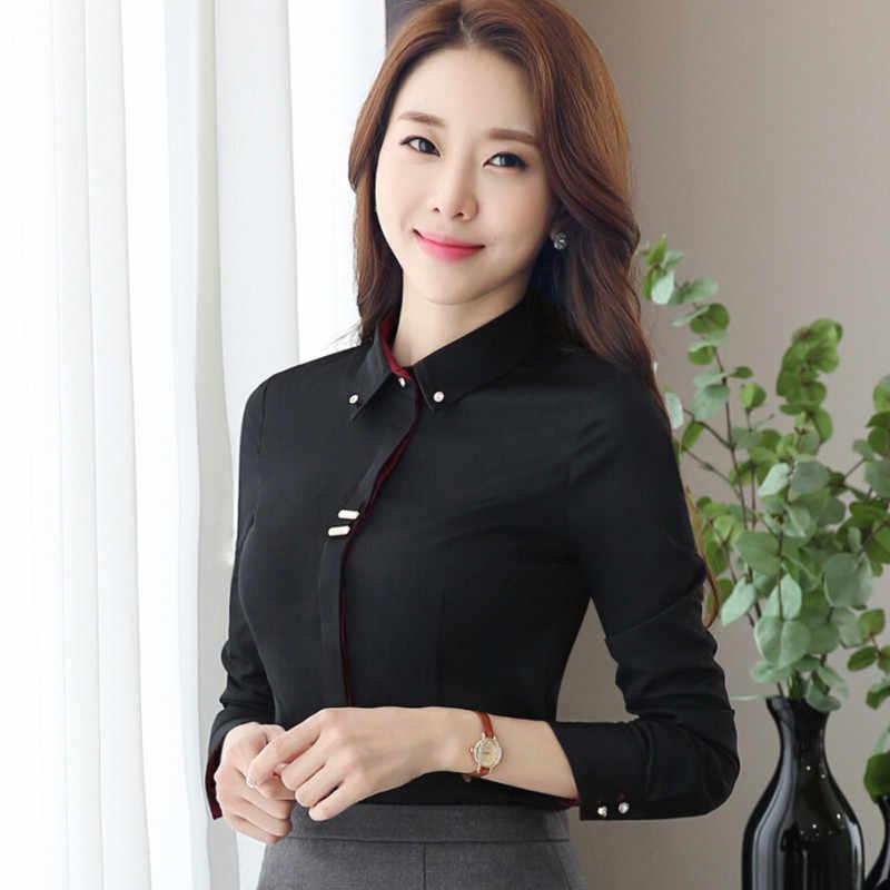 Mode vêtements OL femmes à manches longues chemise noir blanc slim Patchwork coton pailleté blouse bureau dames grande taille formelle hauts
