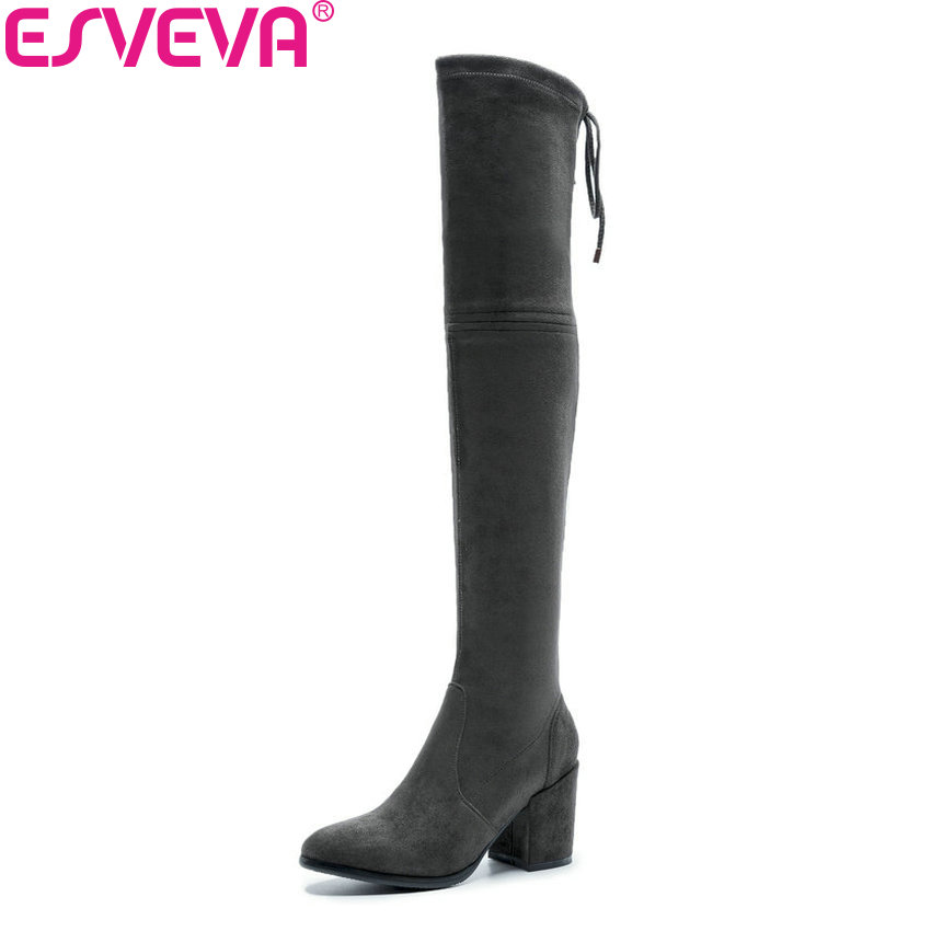 ESVEVA 2019 Women Boots Square Heels Stretch Fabric Over The Knee Boots Spring Autumn Shoes Round Toe Woman Boots Size 34-42 chuassure female boots peep toe high thick heels over the knee boots women autumn boots stretch fabric boots casual shoes black