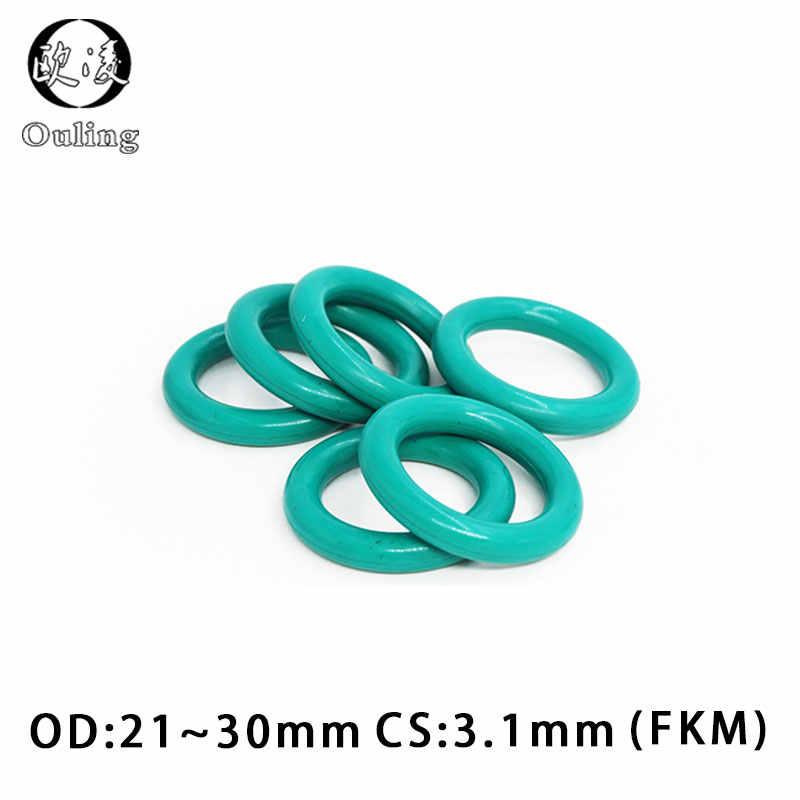5 unids/lote anillo de goma verde FKM O sello de anillo 3,1mm de espesor OD21/22/23/24/25/26/27/28/29/30mm Junta