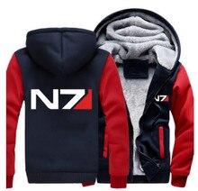 USA size Men Women Mass Effect N7 Zipper Jacket Sweatshirts Thicken Hoodie Coat Clothing Casual