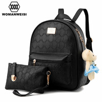 Women Backpack Famous Brand 2017 Chains Pattern Design Leather Backpacks For Teenage Girls Bear Toys Youth