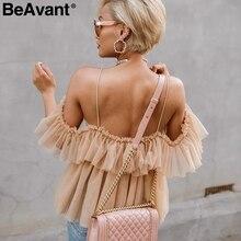 BeAvant Backless v neck sexy blouse summer 2018 Strap ruffle mesh blouse shirt women Off shoulder peplum tops blusas shirt femme