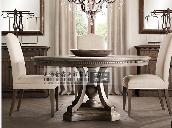 French Country Dining Chairs With Arms Steelcase Gesture Chair Vintage European And American Style Antique Table Made Of Old Wood Round ...