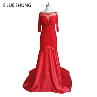E JUE SHUNG Red Chiffon Beaded Evening Dresses Long 2017 Half Sleeves Mother of the Bride Dresses Evening gown Formal Dresses