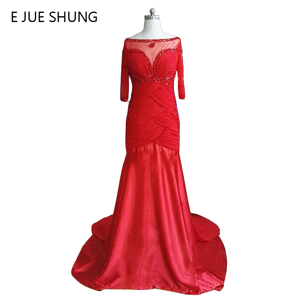 E JUE SHUNG rouge en mousseline de soie perlée robes de soirée longues 2017 demi manches mère de la mariée robes robe de soirée robes formelles