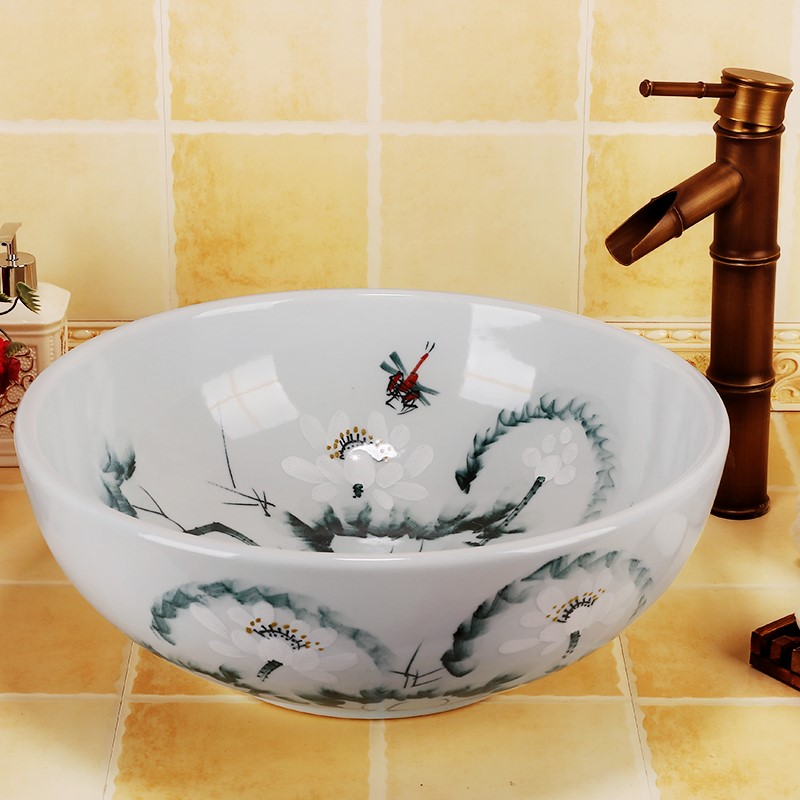 цена на Antique hand painted lotus bathroom ceramic porcelain hand wash face basin sink