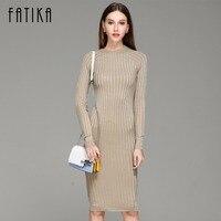 FATIKA Women Knitted Dress Spring Autumn 2017 Long Sexy Bodycon Dresses Elastic Slim Twinkle Sweater Dress
