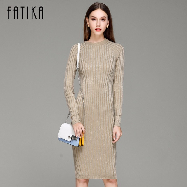 3f9fa48d6026a FATIKA Women Knitted Dress Spring Autumn 2017 Long sexy Bodycon Dresses  Elastic Slim Twinkle Sweater Dress vestidos