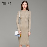 FATIKA Women Knitted Dress Spring Autumn 2017 Long Sexy Bodycon Dresses Elastic Slim Twinkle Sweater Dress