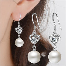Everoyal Lady Charm Crystal Heart Hook Earrings For Women Jewelry Top Quality 925 Silver Female Accessories for