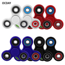 OCDAY Fidget Spinner 8 Colors Kids Adults Sensory Tri Desk Focus Toy Fingertip Gyro Anti Stress Toys Have Great Fun Hand Spinner