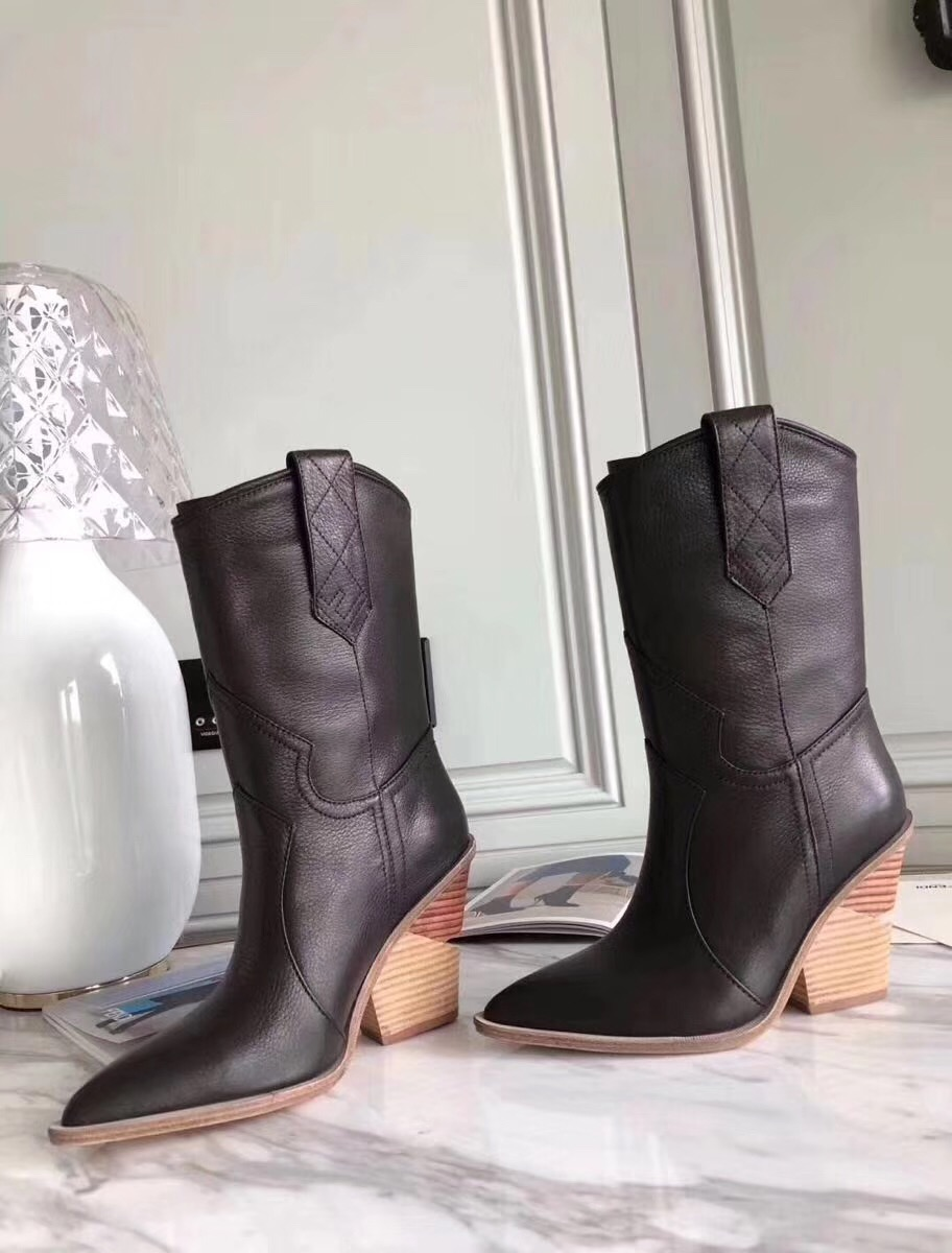 INS HOT SALE Western Winter Boots Genuine Leather Mid Calf Cowboy Boots For Women Wedge Chunky High Heel Short Biker Boots 2019 laconic women s mid calf boots with lace up and chunky heel design