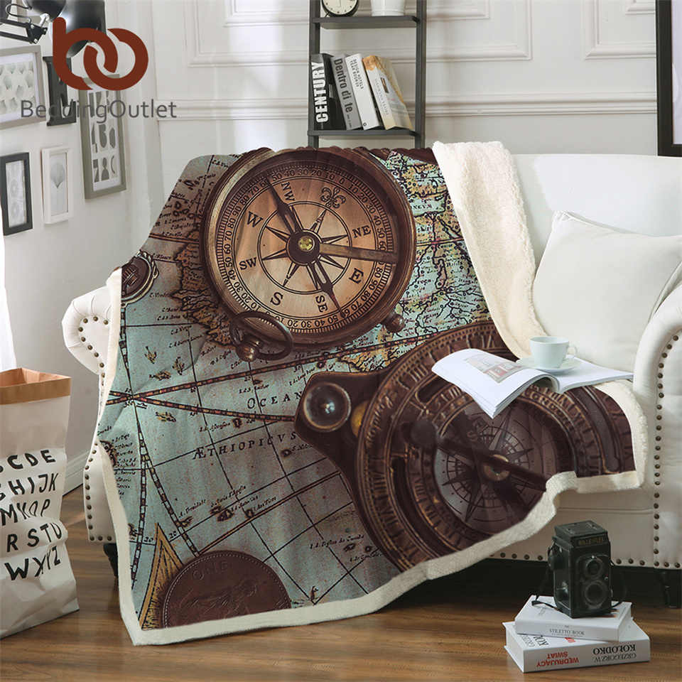 BeddingOutlet Compass Blankets For Beds World Map 3D Print Throw Blanket Retro Style Fluffy Blanket Navigation Bedspread manta