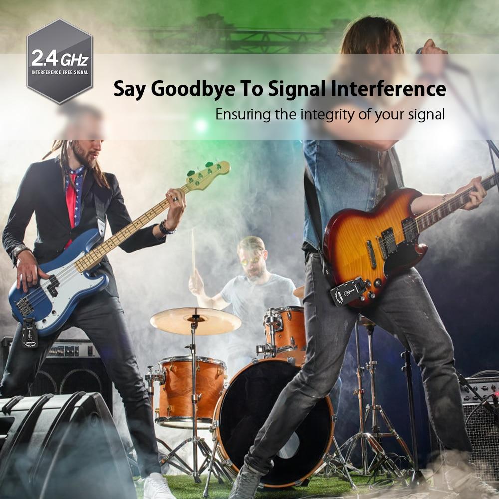 ammoon 2.4G Rechargeable Wireless Guitar 6 Channels Audio Transmitter Receiver for Electric Guitar Bass Guitarra Accessories