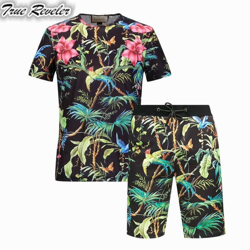 True Reveler Summer Sets Men Casual jungle Flowers and birds 3D Printing Suits For Men Chinese Style Suit Sets T Shirt +Pants