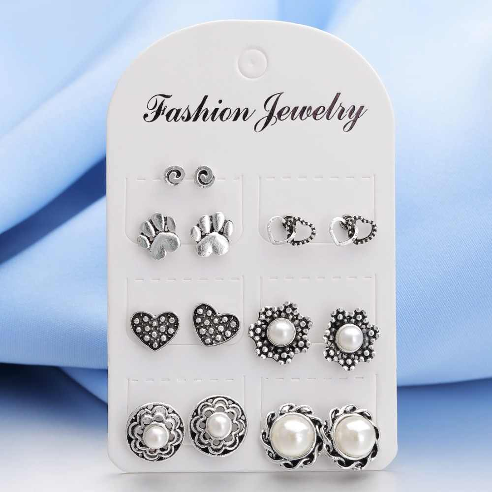 Hesiod Antique Fashion Gold Silver Stud Earrings for Women Flower Heart Round Crystal Imitation Pearl Earring Sets for Wedding