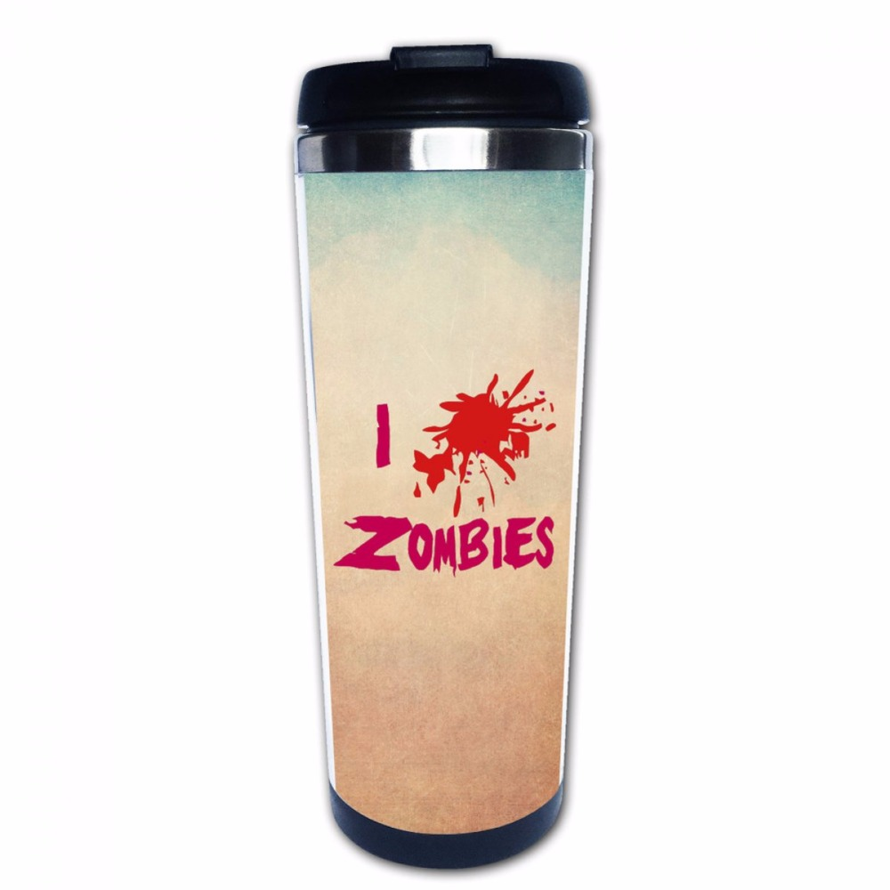 I <font><b>Love</b></font> Zombies Stainless Steel Coffee Mug <font><b>Cup</b></font> <font><b>Double</b></font> Wall Travel Thermos