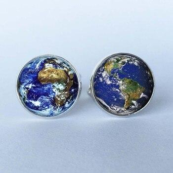 VERDVE New 1 Pairs Men's World Globe Cufflinks