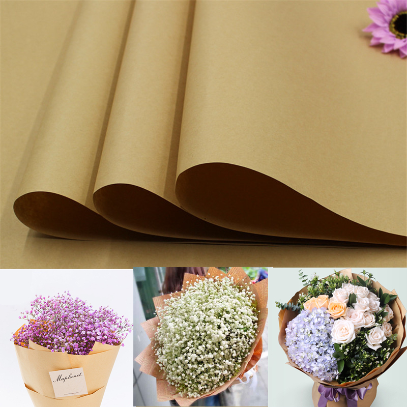 10pcs/lot Kraft Paper 76*52.5cm Solid Brown Color Kraft Flower Gift Packing Papers Large Background Paper Top Quality Decoration