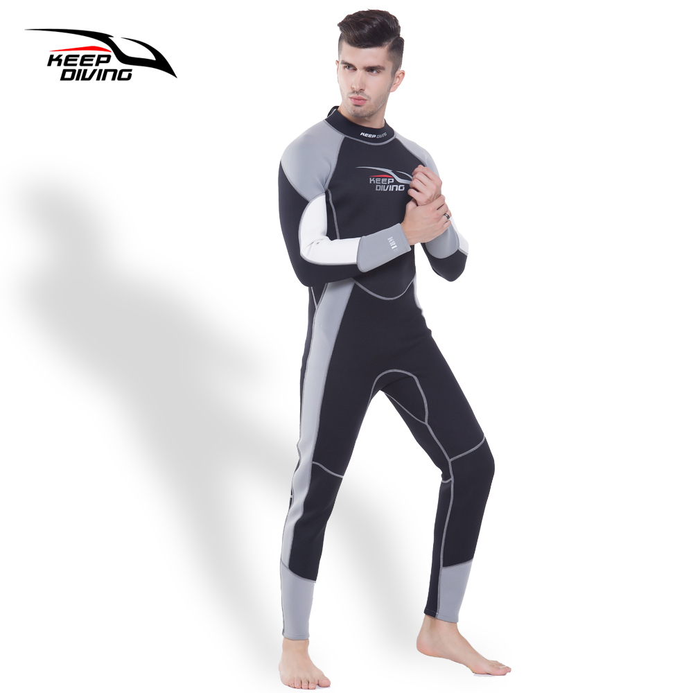 KEEP DIVING Mens 3MM Neoprene One-Piece Full body Scuba Dive Wetsuits For Winter Swim Surfing Snorkeling Spearfishing Equipment