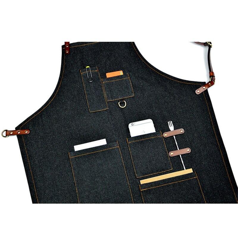 Denim cuisine cuisine tablier avec sangle en coton réglable grandes poches bleu Barista hommes et femmes Homewear - 6